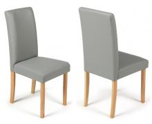 Pair of Matt Grey Torino Faux Leather Chairs 1/2 Price Deal
